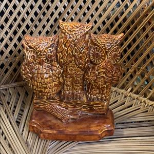 Vintage Hand Painted See/Speak/Heat No Evil Owls